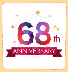Colorful polygonal anniversary logo 2 068 vector