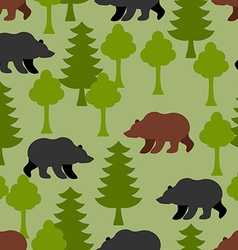 Bears in woods as a seamless pattern grizzly and vector