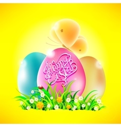 Eggs in the grass with words happy easter vector
