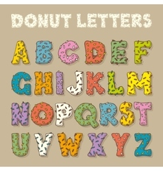 English alphabet in donut style color font vector