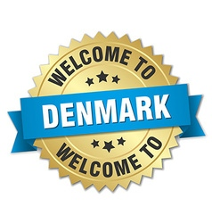 Denmark 3d gold badge with blue ribbon vector