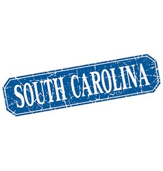 South carolina blue square grunge retro style sign vector