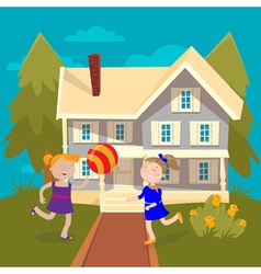 Happy girls playing ball near the house summer vector