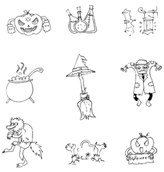 Halloween character and element in doodle vector