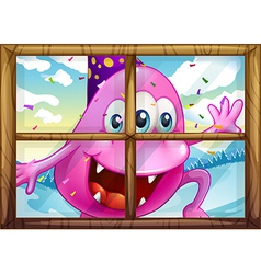 A pink monster outside the window vector