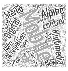 Alpine car stereo word cloud concept vector