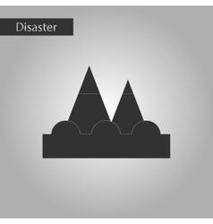 Black and white style icon tsunami mountains vector