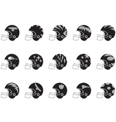 black football helmet set vector image