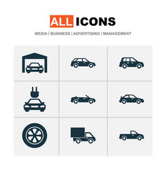 car icons set collection of carriage hatchback vector image