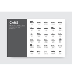 Car icons set with all car types and names vector
