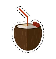 cartoon cocktail coconut cherry fresh vector image
