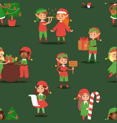Christmas elfs kids children santa claus vector