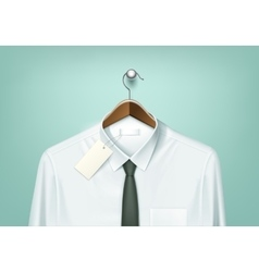 Coat Brown Hanger with White Shirt and Black Tie vector image vector image