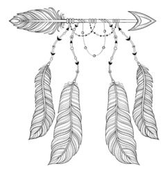 Ethnic arrow with bird feathers boho style concept vector