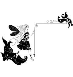 Fairy silhouette corner vector