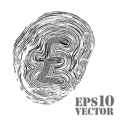 Fingerprint with pound sterling sign vector