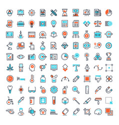 flat line web icons vector image vector image