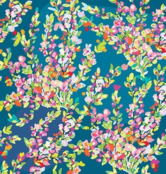 Floral seamless pattern with hand drawn blossom vector image vector image