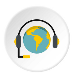 Globe with headset icon circle vector