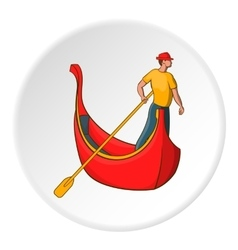 Gondola and gondolier icon cartoon style vector