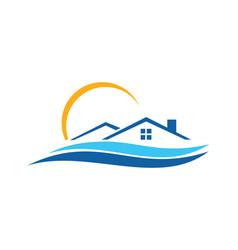 Home beach resort icon logo vector