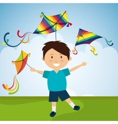 Kite and childhood design vector image vector image
