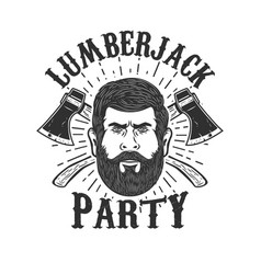 lumberjack party lumberjack head on background vector image vector image