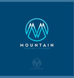 M logo mountain equipment climbing sport vector