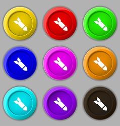 Missilerocket weapon icon sign symbol on nine vector