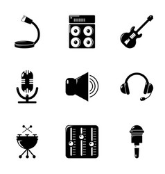 music stuff icons set simple style vector image vector image
