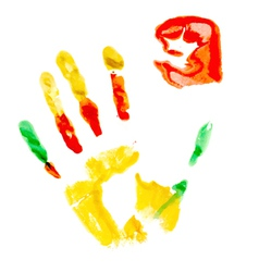 Paint print of human hand vector
