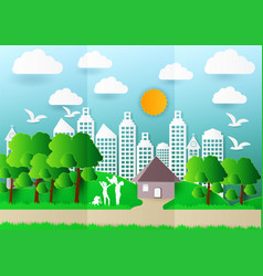 paper art of family and pets on green background vector image