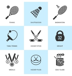 Set of black sports icons vector image
