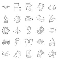 supplies icons set outline style vector image vector image