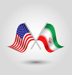 Two crossed american and iranian flags vector