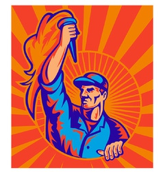 Worker with flaming torch vector