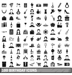 100 birthday icons set simple style vector image