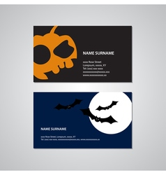 Set of two halloween business cards - usa standard vector