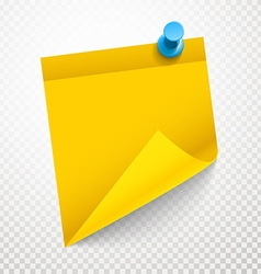 Blank yellow sticker with bending corner on vector image