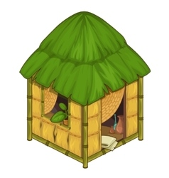 Cozy house made of bamboo and straw vector