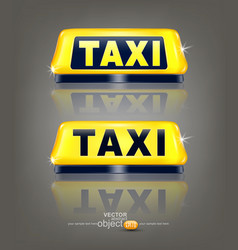 Set of taxi signs with reflection isolated on vector