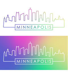 Minneapolis skyline colorful linear style vector