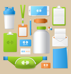 Sport fitness identity template mockup vector