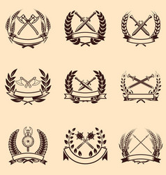 Set of emblems with wreaths and swords design vector