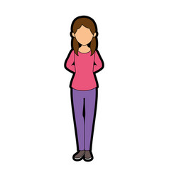Isolated standing young woman vector