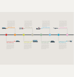 Transportation infographic timeline with stepwise vector