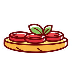 tasty bruschetta with ripe tomatoes and green vector image