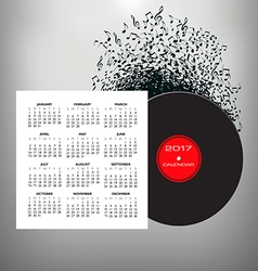 2017 Record Notes calendar vector image