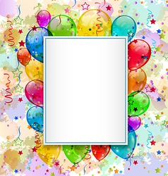 Birthday card with balloons and confetti vector