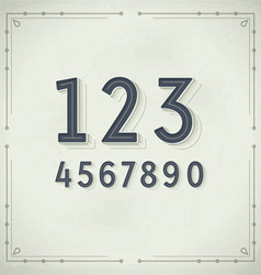 Retro digits vintage typography vector